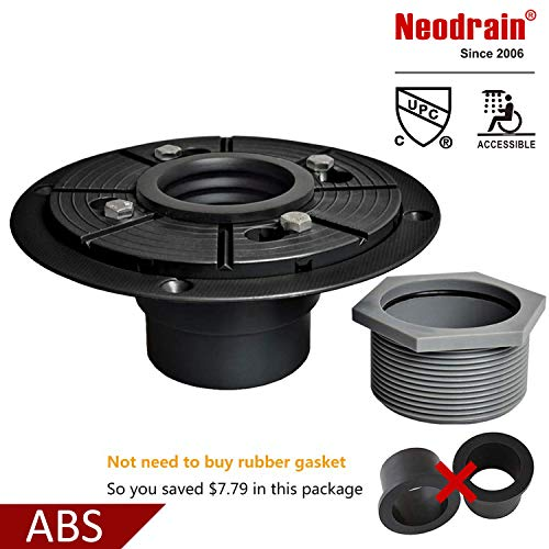 Neodrain 2-Inch ABS Sub Drain, Shower Drain Base, No Hub Shower Drain Base with Rubber Gasket for 2 inch Linear & Square Drain Installation