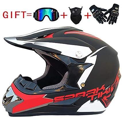 Ocamo Fashion Outdoor Off Road Casco Motorcycle /& Moto Dirt Bike Motocross Racing Helmet Set with Mask S Matte black red