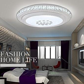 XQK Modernes Schlafzimmer Lampen LED Wohnzimmer Lampe Rund Crystal Dimmen  Deckenleuchte Warmen Schlafzimmer Lampe Einfache