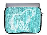 Unicorn on Teal Wood Background 11x14 inch Neoprene Zippered Laptop Sleeve Bag by Moonlight Printing for Macbook or any other laptop