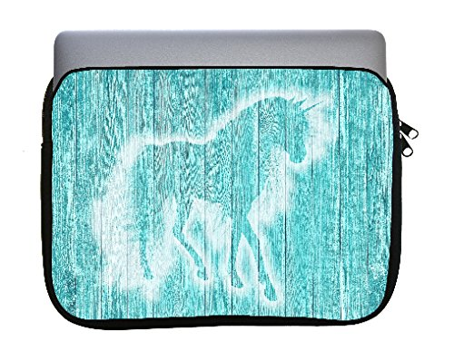 Unicorn on Teal Wood Background 11x14 inch Neoprene Zippered Laptop Sleeve Bag by Moonlight Printing for Macbook or any other laptop by Moonlight Printing