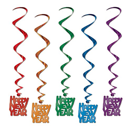 Assorted Color Happy New Year Whirls, 33-inch, (5 Per Package) Pkg/3]()