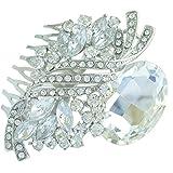 Sindary 2.76'' Silver Tone Teardrop Bridal Hair Comb Clear Rhinestone Crystal Wedding Headpiece HZ6046