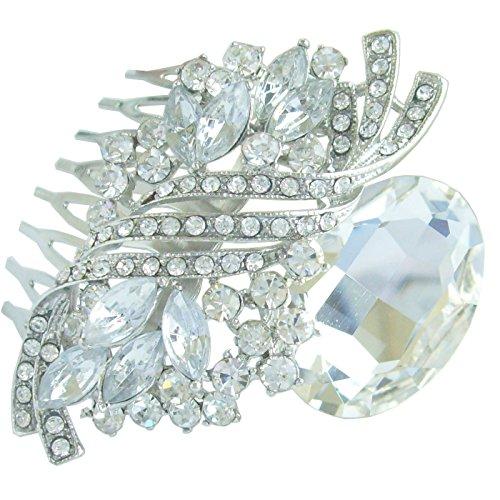 Sindary 2.76'' Silver Tone Teardrop Bridal Hair Comb Clear Rhinestone Crystal Wedding Headpiece HZ6046 by Wedding Hair Accessories-Sindary Jewelry