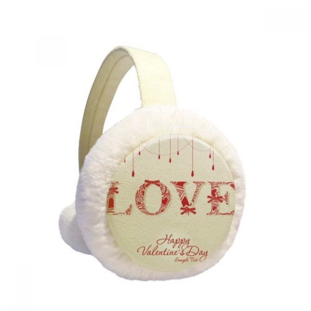 Love Happy Valentine's Day Red Winter Earmuffs Ear Warmers Faux Fur Foldable Plush Outdoor Gift