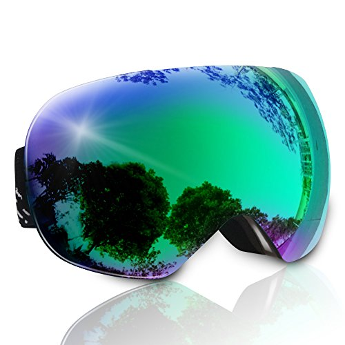 LetsFunny Ski Goggles, Skiing Snow Goggles OTG Design Clear for Men,Women & Youth Frameless with Spherical Lens 100% UV Protection Wind Resistance Anti-Fog Anti-Glare (Black)