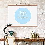 20'' Teak color Natural Wood Magnetic Frame Poster Print Artwork Canvas Hanging Quilt Clip Hanger