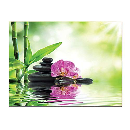 SATVSHOP Art Work painting-20Lx20W-Spa Orchids and ocks in The Mineral ich Spring Water Spiritual Deep Treatment Cure Image Green Black Pink.Self-Adhesive backplane/Detachable Modern Decorative Art.