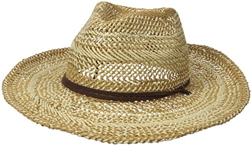 D&Y Women's Two Tone Cowboy Hat with Chinstrap, Beige, One Size