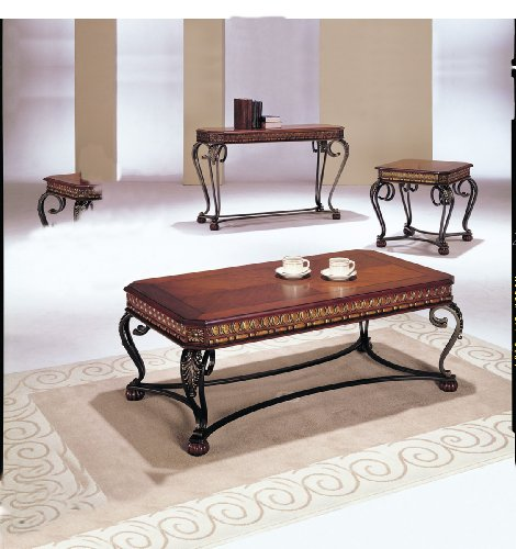 3 Piece Cherry Coffee Table (Acme 07743 3-Piece Carmel Coffee/End Table Set, Cherry Finish)