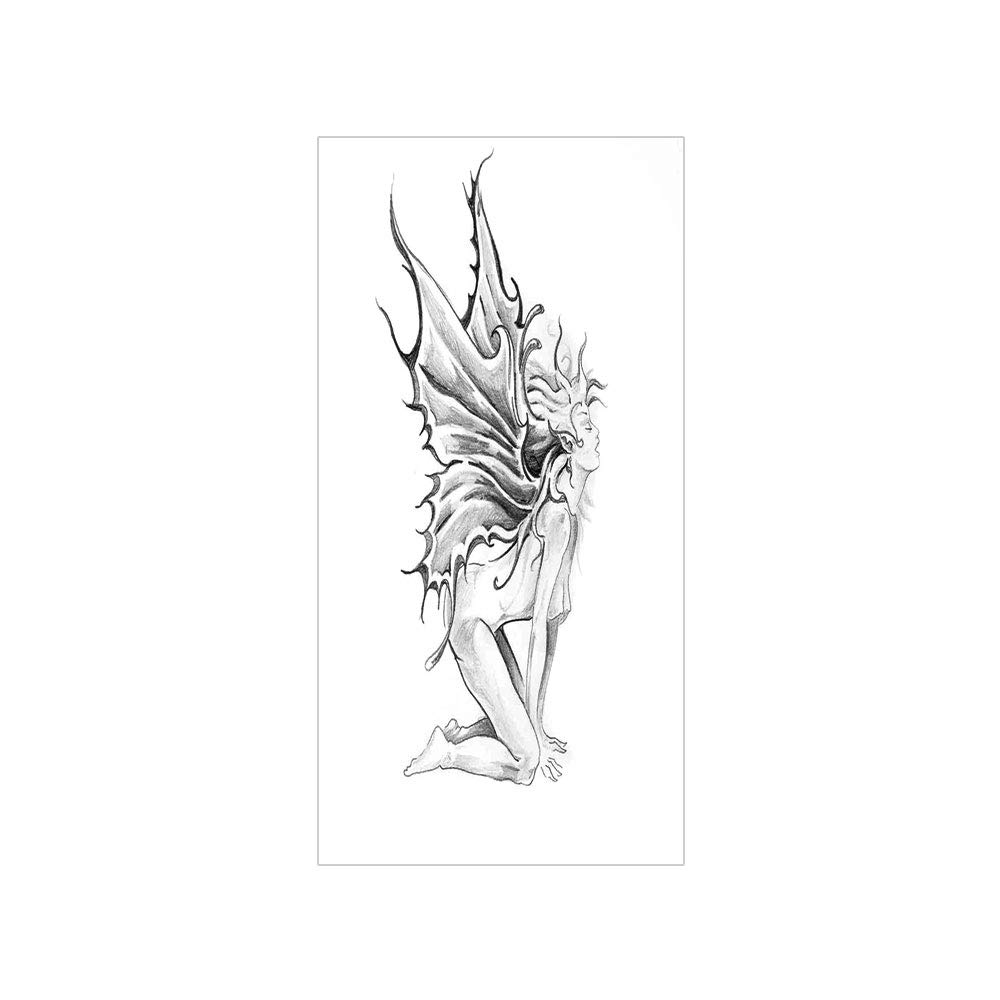 Ylljy00 decorative privacy window film artistic pencil drawing art print nude fairy opening its angel wings no glue self static cling for home bedroom