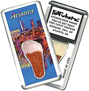 """product image for Atlanta""""FootWhere"""" Fridge Magnet (ATL203 - Twilight). Authentic destination souvenir acknowledging where you've set foot. Genuine soil of featured location encased inside foot cavity. Made in USA"""