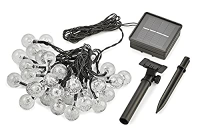 Radiance LED Clear Solar String Lights, 20 ft, Black Wire, Crystal Globe Bulb