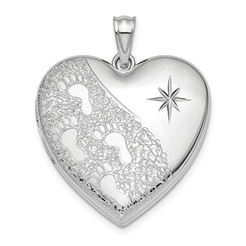 Sterling Silver Rhodium-Plated 24mm Diamond-Cut Footprints Ash Holder Heart Locket