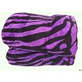 Queen Zebra Fleece Blanket Purple Soft Plush Animal Print Microfiber Throw Blankets