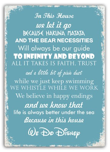 In This House We Do Disney Blue Metal Wall Sign Plaque Art Inspirational