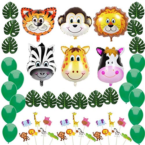 Jungle Safari Theme Party Decorations:Animal Balloons(Zebra,Tiger,Lion,Monkey,Giraffe,Cow), Green Palm Leaves, Balloons, Cupcake Topper-Supplies and Favors for Kids Boys Birthday Baby Shower Decor ()