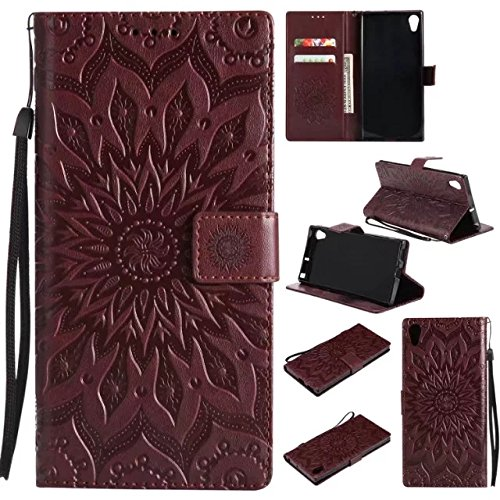Price comparison product image Sony Xperia XA1 Ultra Wallet Case,A-slim Sun Pattern Embossed PU Leather Magnetic Flip Cover Card Holders Hand Strap Purse Case for Sony Xperia XA1 Ultra Brown