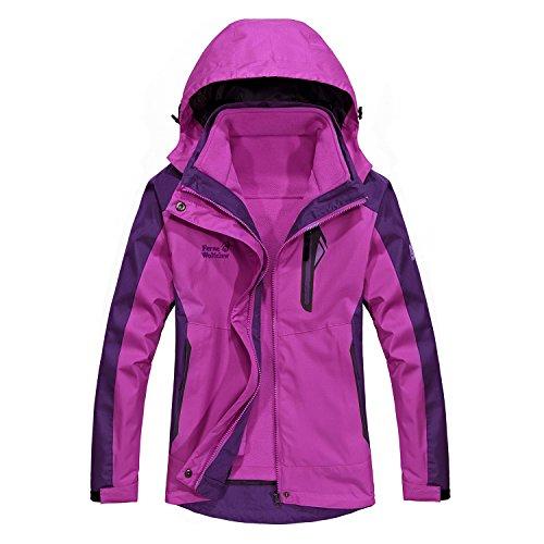 WOOSEN Women's Detachable Two-Piece Skiing-Jackets Winter Mountain Outwear Waterproof Windproof Charge Suit Hooded Warm Coats