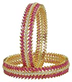MUCH-MORE Great Collection Style Gold Tone Diamond Swarovski Elements Indian Bangles Traditional Jewelry For Women (Ruby, 2.6)