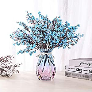 LUSHIDI 6PCS Artificial Baby Breath Flowers Fake Silk Real Touch DIY Floral Bouquets Decor Wedding Party Decoration Arrangements(Blue)