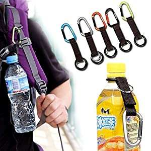 AUCH 5Pcs Portable Carabiner Water Bottle Drink Buckle Hook Holder Clip Key Chain Ring for Camping Hiking Traveling, Random Color
