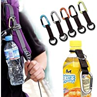 Chris.W 5Pcs Portable Carabiner Water Bottle Drink Buckle Hook Holder Clip Key Chain Ring for Camping Hiking Traveling, Random Color