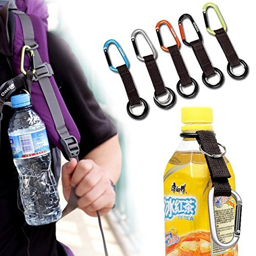 AUCH 5Pcs Portable Carabiner Water Bottle Drink Buckle Hook Holder Clip Key Chain Ring for Camping Hiking Traveling, Random Color (Clip Water Bottle)