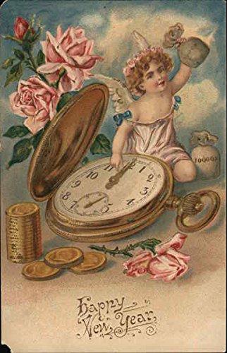 (Happy New Year Angels & Cherubs Original Vintage Postcard)