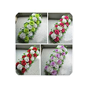 Artificial Lily Rose Flower Wedding Row Road Led Wedding Flower Bouquet 81