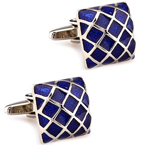 CIFIDET Cuff links Fashion Mens Blue Grid Enamel Shirt Cufflinks With Gift Box ()