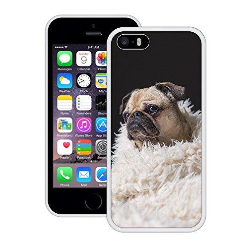 Netter Pug | Handgefertigt | iPhone 5 5s SE | Weiß Hülle