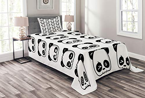 Lunarable Panda Bedspread Set Twin Size, Cute Panda Face Expressions Cartoon Picture Smiling Crying Surprised Kids Pattern, Decorative Quilted 2 Piece Coverlet Set with Pillow Sham, Black White