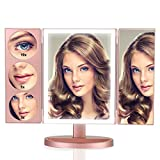 Newest Large Mirror Screen Side(11.8″ x 9.4″), 44 LEDs High Brightness, Tri-fold Lighted Vanity Makeup Mirror with Touch Screen and 3X/5X/10X Magnification, Countertop Cosmetic Mirror (Rose Gold)