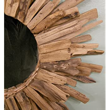 "Large 28"" Driftwood Sunburst Mirror"