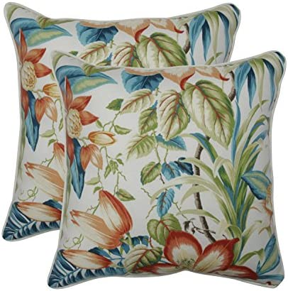 Pillow Perfect Outdoor Indoor Botanical Glow Tiger Lily Throw Pillows, 18.5 x 18.5 , Floral, 2 Pack