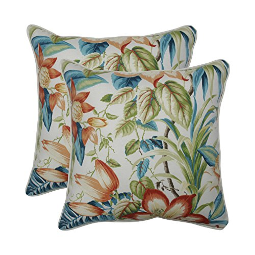 Pillow Perfect Outdoor | Indoor Botanical Glow Tiger Lily 18.5-inch Throw Pillow (Set of 2), Blue