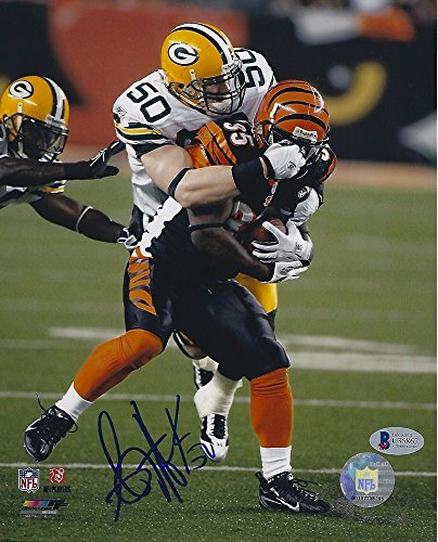Hawk Signed Green (AJ Hawk Signed Green Bay Packers 8x10 Photo with - Beckett Certified)