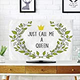 iPrint LCD TV dust Cover Customizable,Queen,Wreath Branches with Lettering Just Call Me Queen Little Crown Decorative,Yellow Apple Green Charcoal Grey,Graph Customization Design Compatible 65'' TV