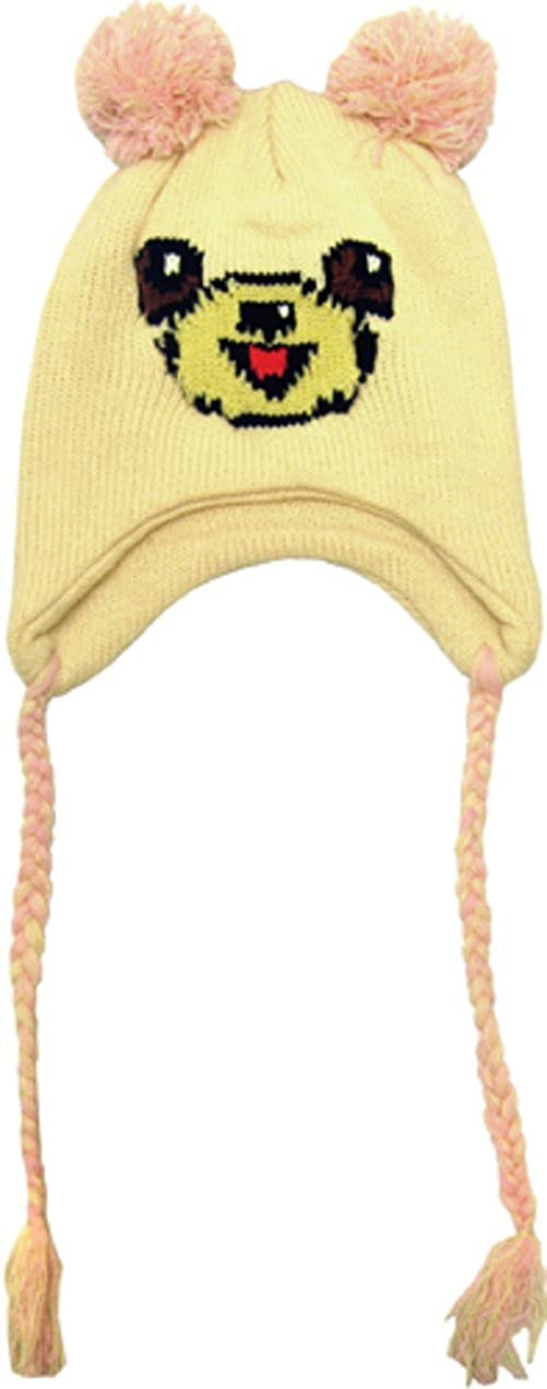 Smiling Cream Colored Bear Toddler Hat Pink /& Cream Pom Poms and Tassels Sourpuss Clothing