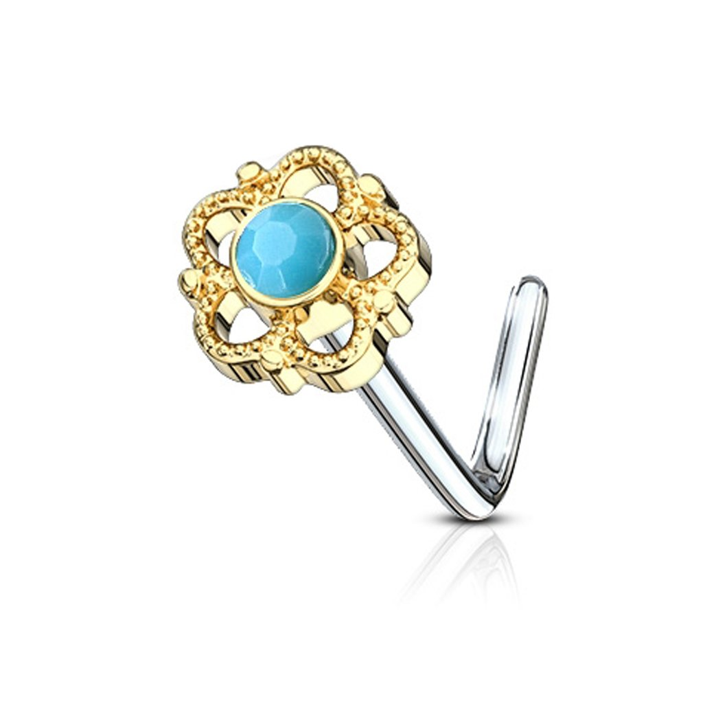 20G FifthCue Flower Filigree Turquoise Center 316L Surgical Steel L Bend Nose Stud Ring - Choose Color JQNOL-608