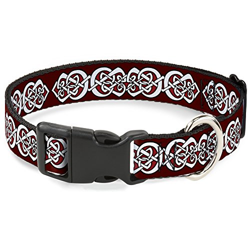 Buckle Down Cat Collar Breakaway Celtic Knot5 Reds Black White 6 to 9 Inches 0.5 Inch Wide ()