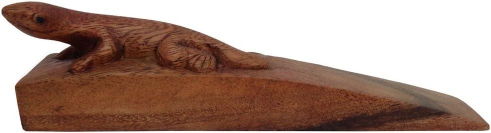 Brown Gecko Design by UnseenThailand Decorative Wooden Door Stopper//Doorstop Holder Hand Carved in a Animal Shape Floor Blocker Closers.
