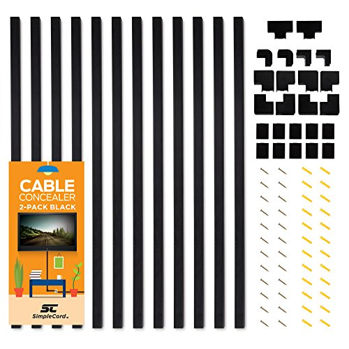 (Cable Concealer On-Wall Cord Cover Raceway Kit - 12 Black Cable Covers - Cable Management System to Hide Cables, Cords, or Wires - Organize Cables to TVs and Computers at Home or in The Office)