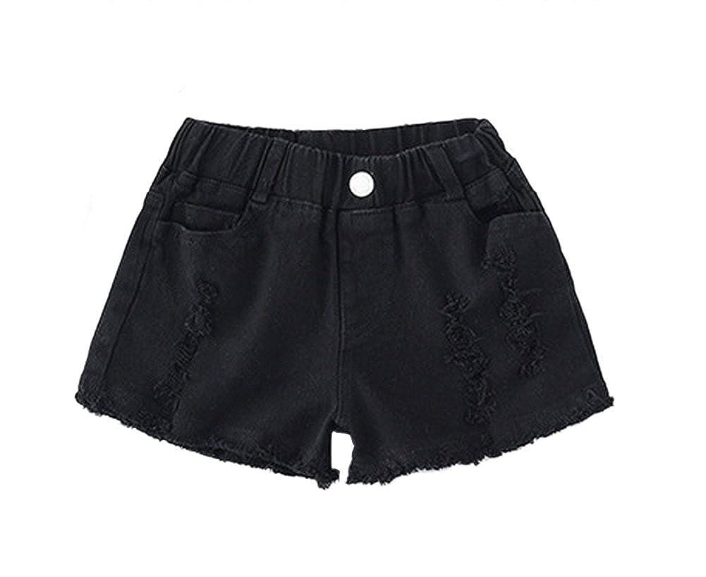 Tortor 1Bacha Kids Little Girls Rippled Pants,Cotton Demin Shorty Shorts