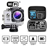 FollowSun 1080P H.264 1.5Inch WIFI Waterproof Sports Action Camera Car Recorder with 12MP 170 Degree Wide Angle+ Full HD Lens Include Various Accessories + 8.6