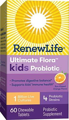 51HSoFr%2BJlL. AC - Renew Life Kids Probiotic - Ultimate Flora Kids Probiotic Supplement - Shelf Stable, Gluten, Dairy & Soy Free - 1 Billion CFU - Sun-Kissed Orange, 60 Chewable Tablets