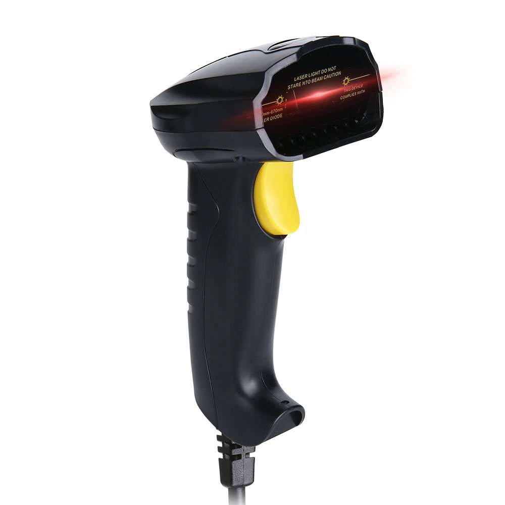 haelpu USB Barcode Scanner Handheld Wired 1D Laser Bar Code Scanner Reader for Computer POS Laptop, Automatic Fast and Precise Scanning