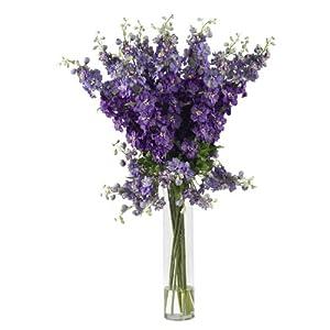 AWM Real Looking Delphinium Silk Flower Arrangement Purple Colors - Silk Arrangement 53