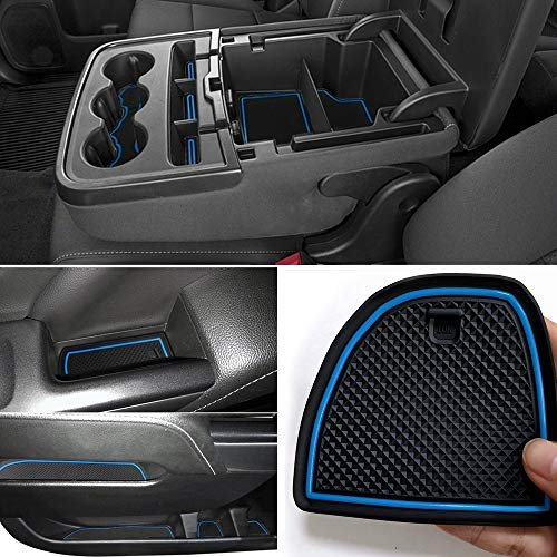 Auovo Anti-Dust Custom Fit Cup and Center Console Liner Accessories for 2018 Chevrolet Silverado 1500 LT Double Cab Interior Door Compartment Liner Mats Inserts(Pack of 24) (Blue)